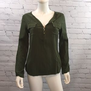 Guess olive green rayon Henley blouse, small